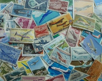 Airplanes - 100 Stamps  Lot of Vintage Airplane Worldwide Postage Stamps for Scrapbooking, Decoupage, Paper Crafts, Collage and More...