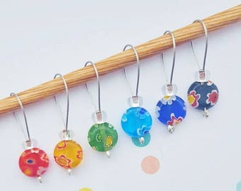6 Rainbow Flower Snag Free Knitting Stitch Markers