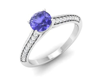Natural Tanzanite Ring | Tanzanite Engagement Ring With Diamond 14K Gold | Anniversary Gift | SI Diamond Engagement Ring| AAA Tanzanite Ring