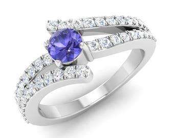 Tanzanite Engagement Ring, 14K White Gold, Tanzanite With Diamond, Tanzanite Gold Ring, Anniversary Ring, Wedding Ring
