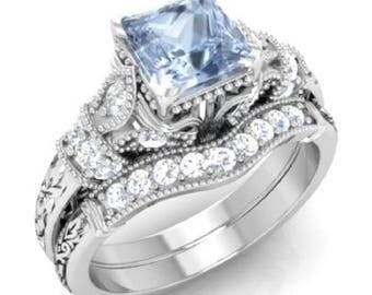 Aquamarine Engagement Ring | Aquamarine Ring With Matching Band  | Platinum | Diamond Engagement Ring | Princess Cut Ring | Certified Ring