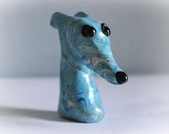 Greyhound Whippet Clay Sculpture Miniature Bust with Glass Eyes