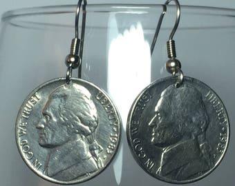 1983 Nickel Earrings Free Gift Bag 35 Year Anniversary 35th Birthday