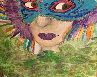 Painting of a woman in a Mardi Gras mask.