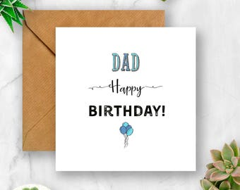 Balloons Dad Birthday Card, Birthday Card for Dad, Dad Birthday, Card for Dad Birthday, Dad Card, Daddy Birthday Card, Daddy Card