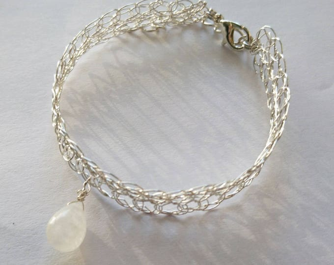 Bangle Bracelet natural Moonstone silver plated