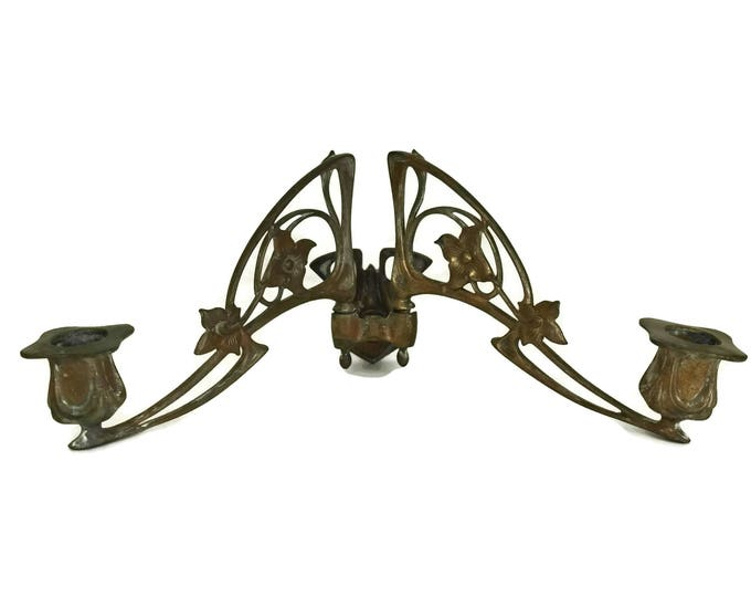 Antique Pleyel Piano Candle Sconces. Art Nouveau Candleholder Wall Sconces. Gift For Musician. French Music Decor.