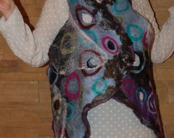 Felted  Women Vest Funny Felted Art Wearable Art Original merino wool vest Reversible  Vest