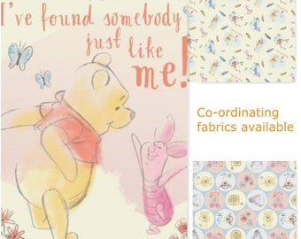 """I've Fallen Somebody Winnie the Pooh Bear and Piglet Quilt Top Panel 43"""" x 36"""" with Coordinating Fabric Your Choice"""