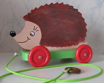Fretwork pattern Hedgehog wooden pull toy