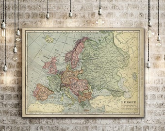 "Old map of Europe up to 43""x 55"" Restoration Hardware Style Decorative map Vintage map of Europe Antique Europe Map Europe Wall Art wall map"