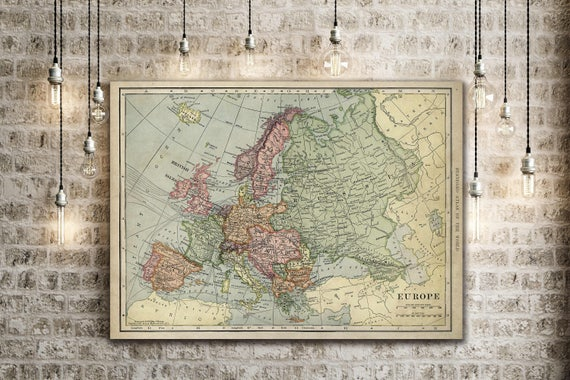 """Old map of Europe up to 43""""x 55"""" Restoration Hardware Style Decorative map Vintage map of Europe Antique Europe Map Europe Wall Art wall map"""