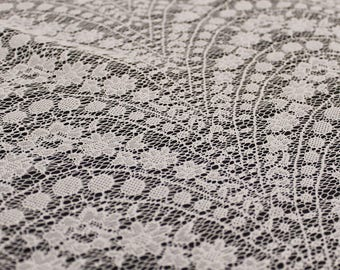 Ivory Floral Opera Pattern Stretch Lace Fabric by the Yard- Style CO-2418