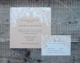 BLUSH Wedding Stationery // Invite // botanical Invitations // floral // vintage // simple // rustic // boho // invitation // RSVP