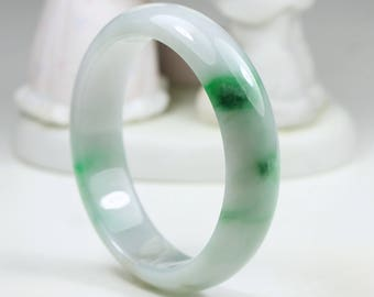 Jadeite Bangle - 57.21mm Vivid Green and Off White MB12LL10 Grade A Jade