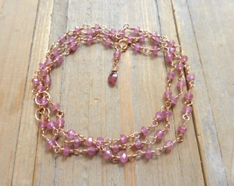 Pink Sapphire and Rose Gold Rosary Link Long Necklace