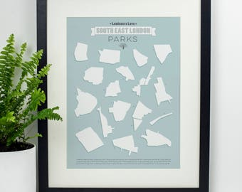 South London parks print. London park print. South London poster. London print. Home decor. Wall art. Gift under 40. Gift for her.