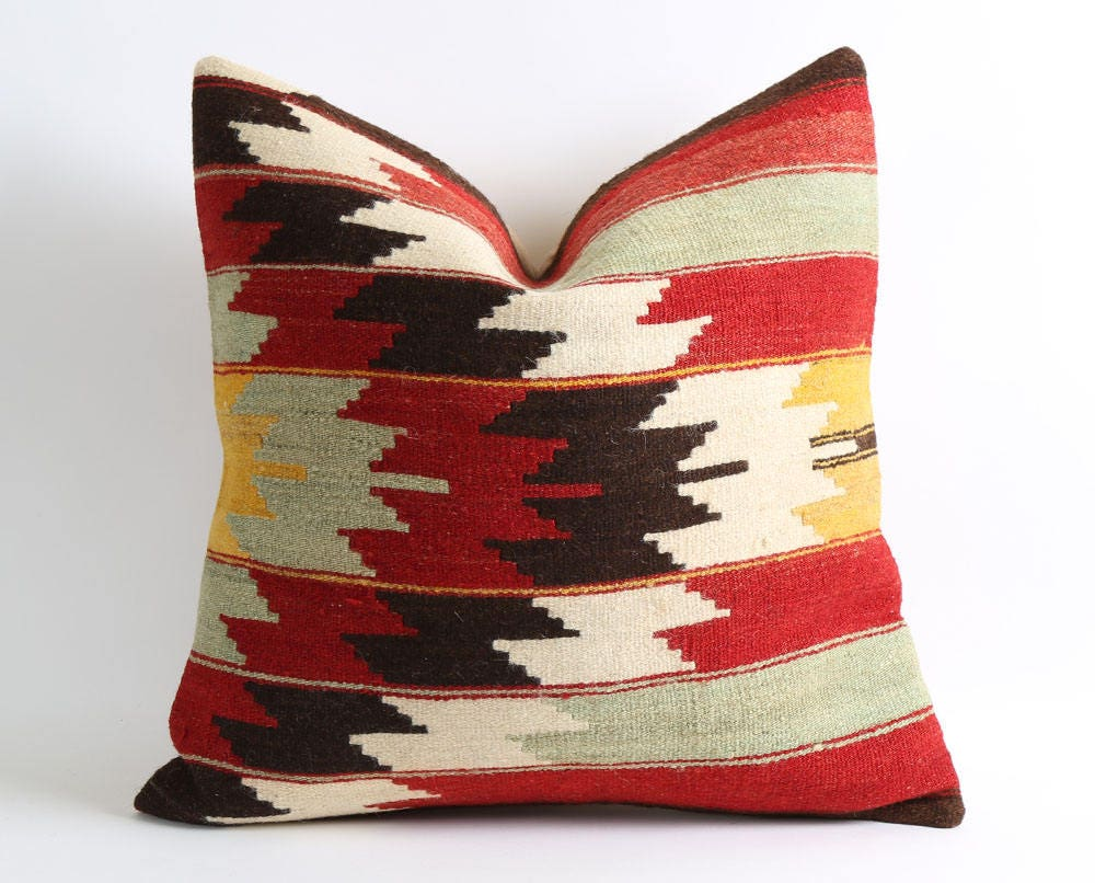Wool Pillow Covers, 20x20 Rustic Wool Kilim Pillow, Couch Pillows, Unique,  Hand