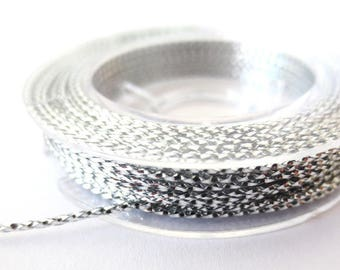 Cord braided metallic 1 mm, coil 10 m silver