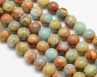 10 x 8mm AQUA TERRA Jasper round beads