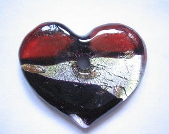 Murano style glass heart pendant