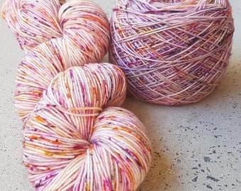 Hand dyed superwash merino/nylon speckle sock yarn