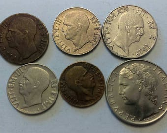 6 Vintage Italy Coins   vintage foreign world collectible coins   #IT04