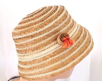 1950's Women's Straw Bucket Hat Carson Pirie Scott & Co. Chicago