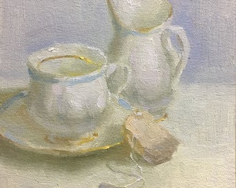 Ready for tea? Original oil painting by Bhavani Krishnan white teacup and creamer still life painting Small Daily Painting wall decor 6x6