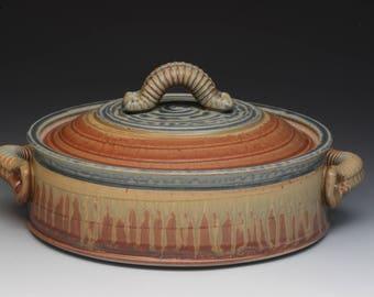 Handmade Stoneware Casserole. Wheel Thrown. Studio Pottery.