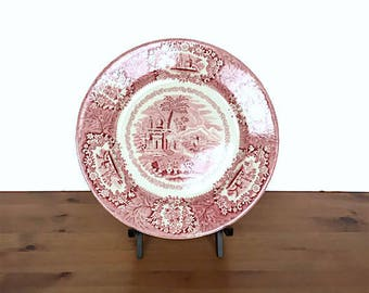 George Jones and sons red transferware plate Crescent Oriental pattern
