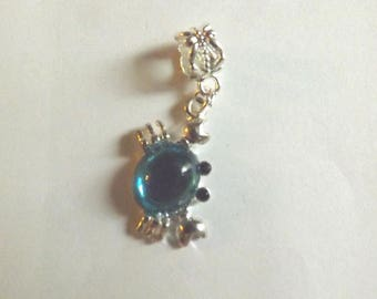 Pretty pendant silver-bright blue crab 25 x 12 mm