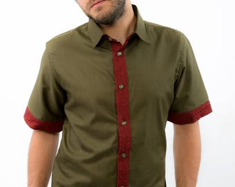 Cotton Green with Maroon Patched Half Shirt