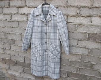 Vintage Coat Jacket All Weather 1960s 70s Twin Peak Mad Men Womens Clothing Plaid Geometric Large Light Weight  Twiggy Era Mid Century