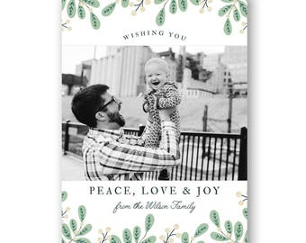 Holiday card template, Christmas card template, Mistletoe Christmas Card, Photo Card Template