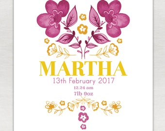 Birth Annoucement - personalised print A5/A4/A3