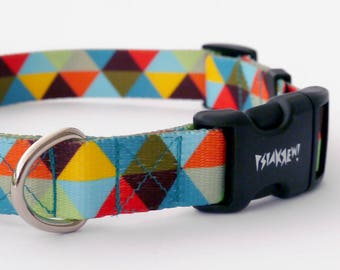 """Dog Collar Bermuda Triangle  2.5 cm 1""""  wide, Pet accessories Psiakrew Colorful Pet collars for medium and large dogs"""