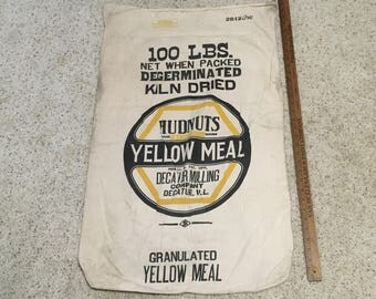 Vintage Hudnuts Yellow Meal Feed Sack