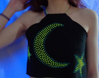 Neon Fluorescent Blue & Yellow Crescent Moon and Star Symbol Crop Top Handpainted Reworked Shirt Small Medium, Upcycled by thriftalina