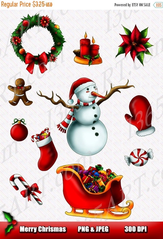 50 OFF Merry Christmas Clipart Party Invitations Embellishments