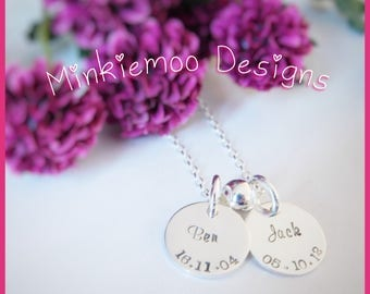 Name & birth date necklace, personalised name pendant, any name, gifts for mum gran, christmas present, birthday present, affordable gift