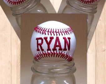 ON SALE Personalized Baseball, Embroidered Baseball, Birthday gift for dad, Gift for Him, baseball embroidery, Baseball Team Gift sports bab