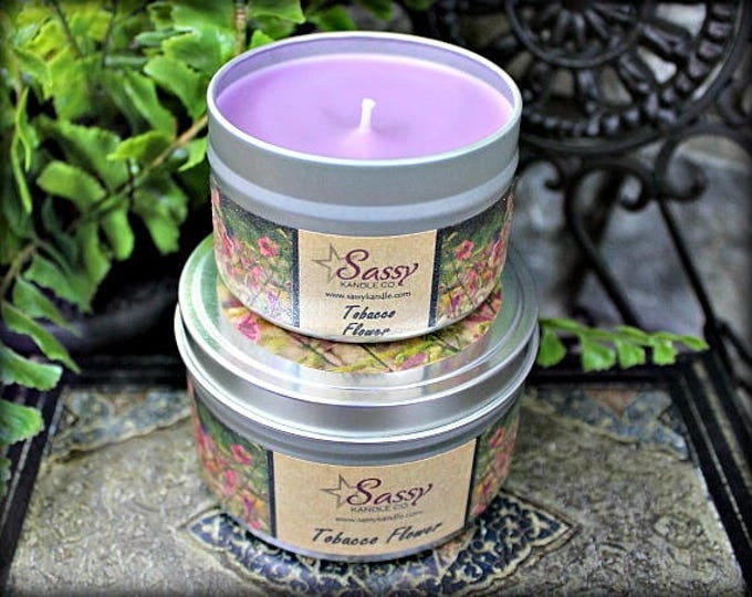 TOBACCO FLOWER | Candle Tin (4 or 8 oz) | Sassy Kandle Co.