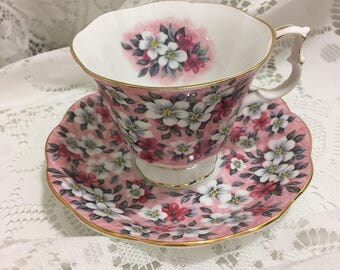 Vintage Royal Albert Pink Surprise English Bone China Teacup and Saucer