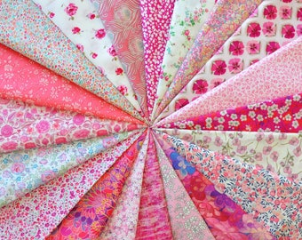"20 LIBERTY fabric Tana Lawn 5"" x 5"" Patchwork Charm Squares, scraps, pieces  'PINK Squares'"