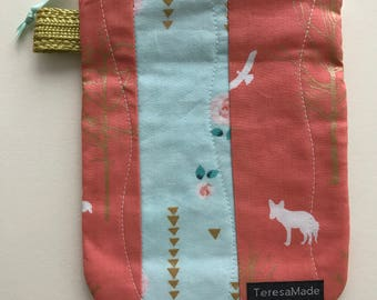 Small Coral/Blue Deer Zip Pouch
