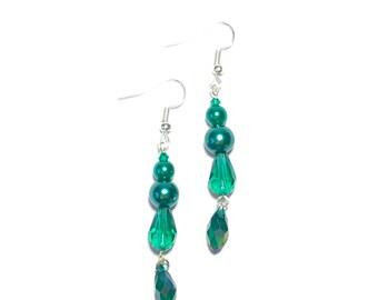 Teal Pearl and Crystal Dangle Earrings