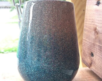 Glitter Ombré Stemless Wine Glass - Insulated Stainless Steel Double Walled