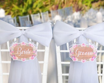 Floral Bride and Groom Sign - Multiple Colors - Wedding Chair Signs - Floral Wedding Sign - Wood Signs - Rustic Chair Signs