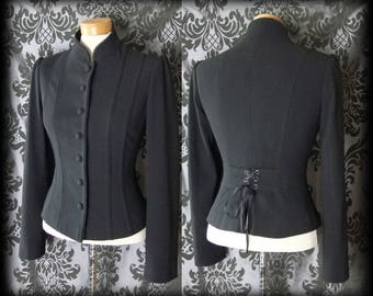 Gothic Black Fitted MILITARY Corset style Riding Jacket 8 10 Victorian Steampunk